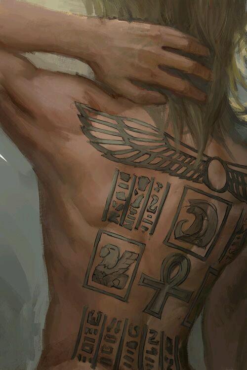 1boy ankh arm_up artist_request bare_back blonde_hair hand_in_hair male_focus marik_ishtar medium_hair solo straight_hair yuu-gi-ou yuu-gi-ou_duel_monsters