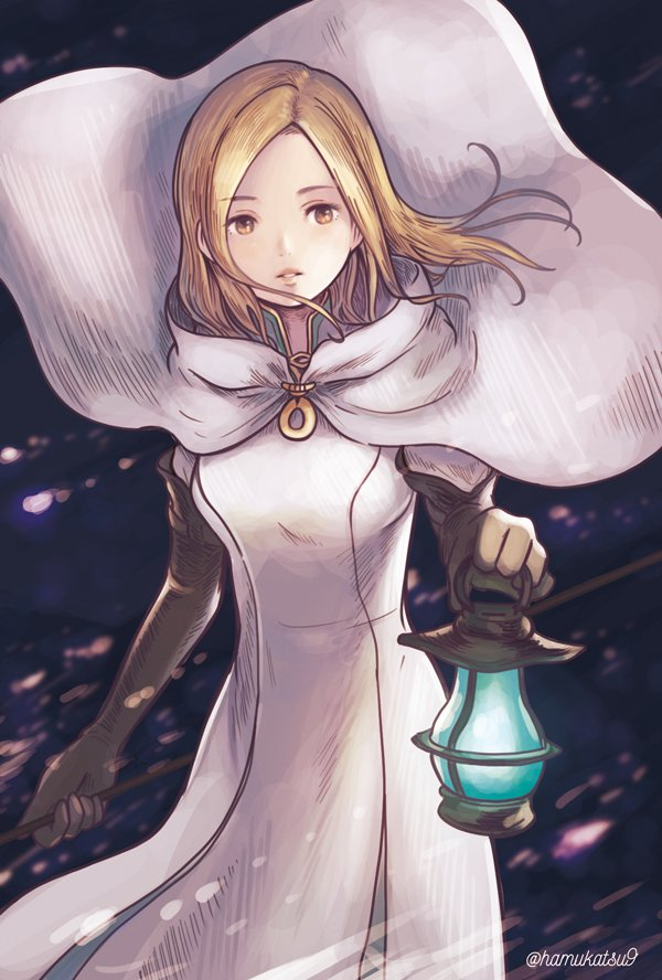 1girl blonde_hair breasts commentary dress gloves long_hair looking_at_viewer ma-hain-scarlet octopath_traveler ophilia_(octopath_traveler) robe solo