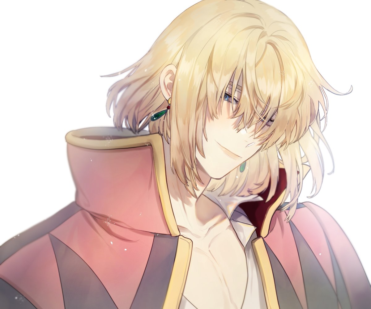 1boy blonde_hair closed_mouth collarbone earrings high_collar howl_(howl_no_ugoku_shiro) howl_no_ugoku_shiro jacket_on_shoulders jewelry looking_at_viewer male_focus mgmg_1012 open_clothes short_hair simple_background smile solo upper_body white_background