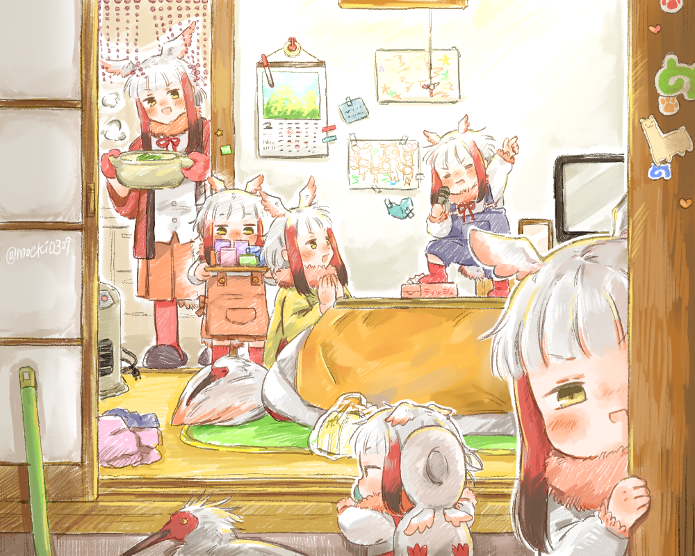 6+girls :d =_= animal apron bangs bird blunt_bangs blush brown_hair calendar_(object) child child_drawing commentary fur_collar head_wings indoors japanese_crested_ibis japanese_crested_ibis_(kemono_friends) japari_symbol kemono_friends kotatsu long_hair looking_at_another looking_at_viewer microphone mittens moeki_(moeki0329) multiple_girls multiple_persona on_table open_mouth peeking_out redhead smile table tail television tissue_box toddler twitter_username white_hair yellow_eyes younger