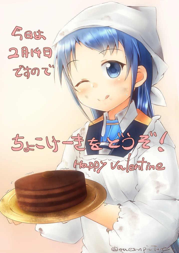 1girl artist_name bandana bangs blue_eyes blue_hair blush cake commentary_request eyebrows_visible_through_hair food holding holding_plate kantai_collection kappougi long_hair looking_at_viewer mae_(maesanpicture) one_eye_closed plate sailor_collar samidare_(kantai_collection) simple_background solo swept_bangs tongue tongue_out translation_request very_long_hair white_background white_headwear