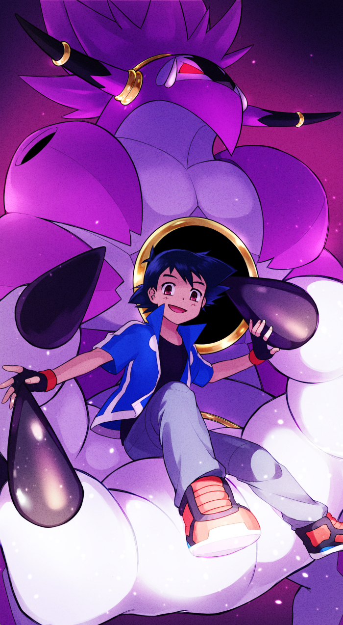 1boy :d ame_(ame025) ash_ketchum bangs black_gloves black_hair black_shirt blue_jacket brown_eyes claws fingerless_gloves from_below gen_6_pokemon gloves highres hoopa hoopa_(unbound) jacket looking_at_viewer male_focus mythical_pokemon open_clothes open_jacket open_mouth orange_footwear pants pokemon pokemon_(anime) pokemon_xy_(anime) shirt shoes short_hair short_sleeves sitting smile
