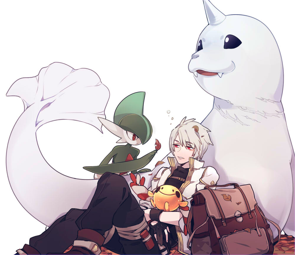 1boy autumn_leaves backpack bag black_gloves black_pants brown_footwear character_request chingling dewgong fangs gallade gen_1_pokemon gen_4_pokemon gloves horn male_focus nasnotte pants pokemon red_eyes simple_background sitting white_background white_hair