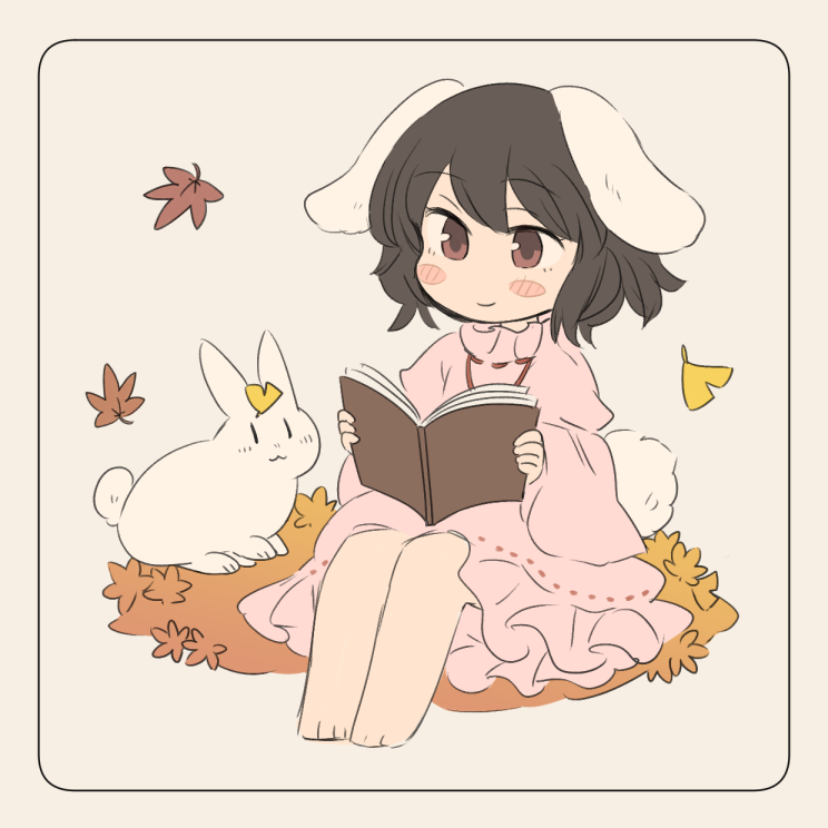1girl animal_ears autumn_leaves black_hair blush_stickers book border bunny_tail commentary_request dress falling_leaves frills ginkgo_leaf holding holding_book inaba_tewi inazakura00 leaf leaf_on_head long_sleeves pink_dress rabbit rabbit_ears reading short_hair sitting smile tail touhou wide_sleeves