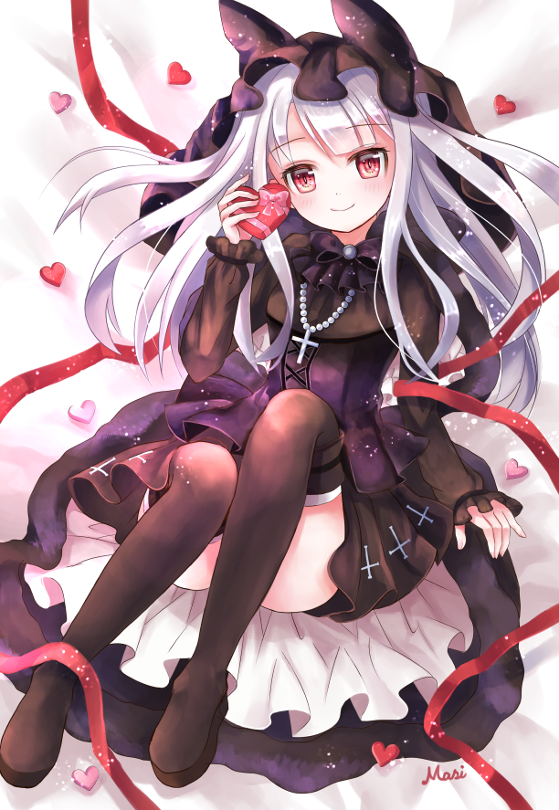 1girl animal_hood azur_lane bangs bed_sheet belt_boots black_bow black_dress black_footwear blush boots bow bowtie box breasts commentary_request convenient_leg cross cross-laced_clothes cross_necklace dress erebus_(azur_lane) eyebrows_visible_through_hair frilled_sleeves frills full_body gift gothic_lolita heart heart-shaped_box hidamari_(hi_da_mari123) holding holding_gift hood hood_up jewelry knees_up layered_dress lolita_fashion long_hair long_sleeves looking_at_viewer lying necklace on_back on_bed platform_boots red_eyes red_ribbon ribbon shadow sidelocks signature small_breasts smile solo thigh-highs valentine wedding_dress white_hair zettai_ryouiki