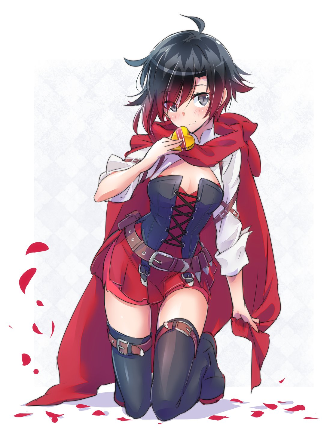 1girl bandolier belt black_hair blouse boots box bullet cape cloak corset dress flower gradient_hair grey_eyes heart heart-shaped_box highres hood hooded_cloak iesupa kneeling multicolored_hair petals red_cape red_dress redhead rose rose_petals ruby_rose rwby short_hair solo thigh-highs thigh_boots two-tone_hair white_blouse