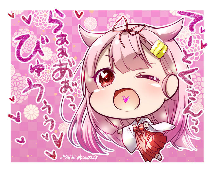1girl artist_name black_ribbon blonde_hair checkered checkered_background chibi commentary_request full_body gradient_hair hair_flaps hair_ornament hair_ribbon hairclip heart heart_in_mouth ichinose_ibuki japanese_clothes kantai_collection long_hair looking_at_viewer miko multicolored_hair one_eye_closed pink_background red_eyes remodel_(kantai_collection) ribbon smile solo translation_request yuudachi_(kantai_collection)