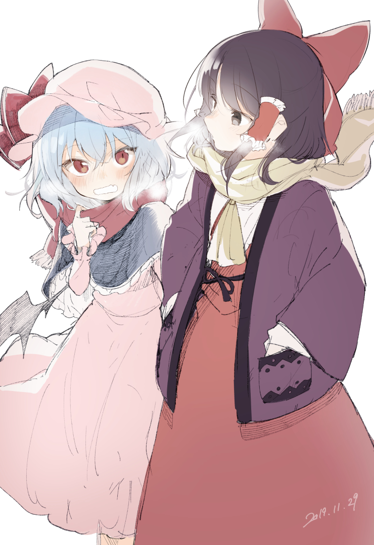 2girls bat_wings black_hair blue_hair blush bow breath capelet commentary_request cowboy_shot dated dress fang frills hair_bow hair_tubes hakurei_reimu hand_up hands_in_pockets hanten_(clothes) hat hat_ribbon long_sleeves looking_at_another mob_cap multiple_girls open_mouth pink_dress pink_headwear red_bow red_dress red_eyes red_ribbon red_scarf remilia_scarlet ribbon scarf short_hair simple_background touhou white_background wings winter_clothes yellow_neckwear yellow_scarf yuki_(popopo)
