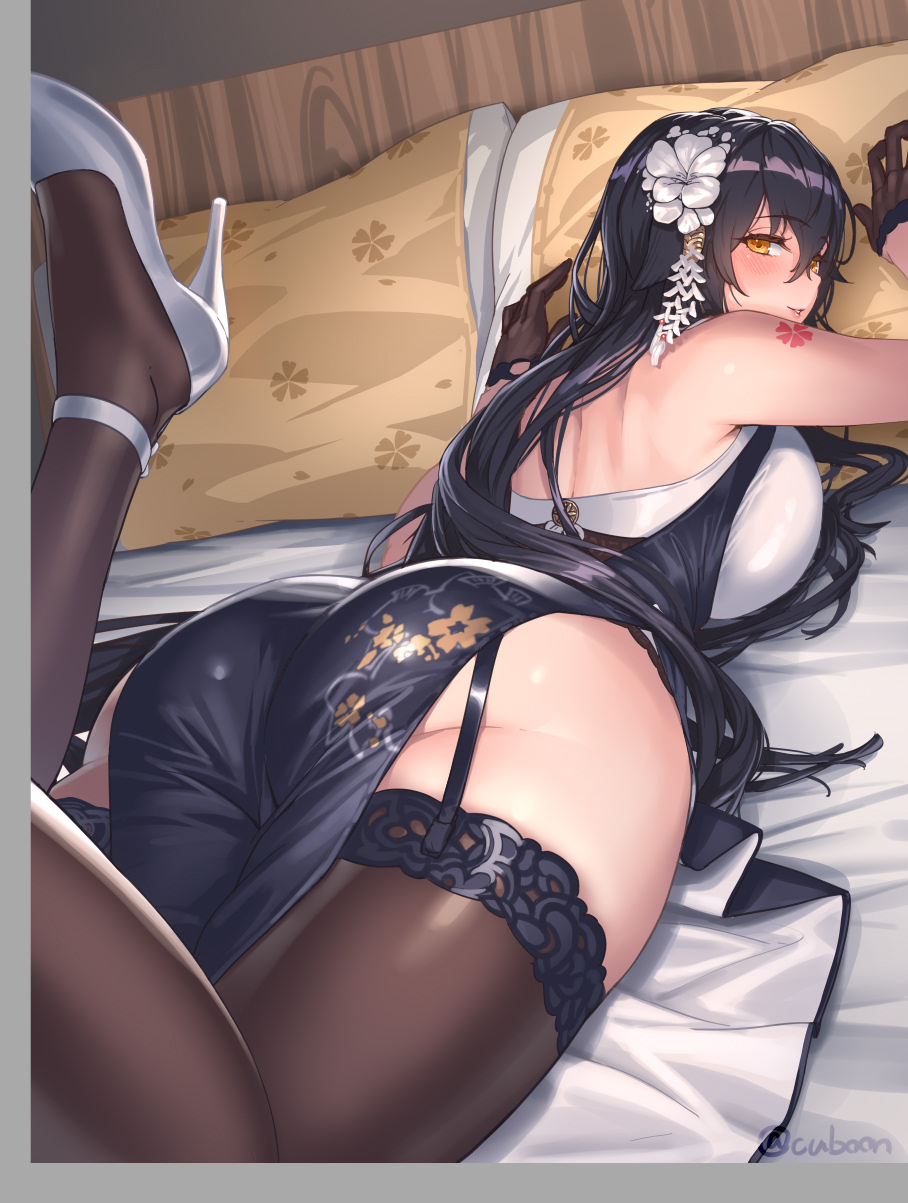 1girl azuma_(azur_lane) azuma_(soft_voice_of_spring)_(azur_lane) azur_lane bangs bed bed_sheet black_hair black_legwear blush breast_press breasts china_dress chinese_clothes commentary_request cuboon cushion dress eyebrows_visible_through_hair floral_print flower from_behind garter_straps gloves hair_between_eyes hair_flower hair_ornament half_gloves high_heels highres indoors large_breasts lips long_hair looking_at_viewer lying off-shoulder_kimono on_stomach pelvic_curtain pink_lips shoulder_tattoo solo tattoo thigh-highs twitter_username white_flower white_footwear yellow_eyes