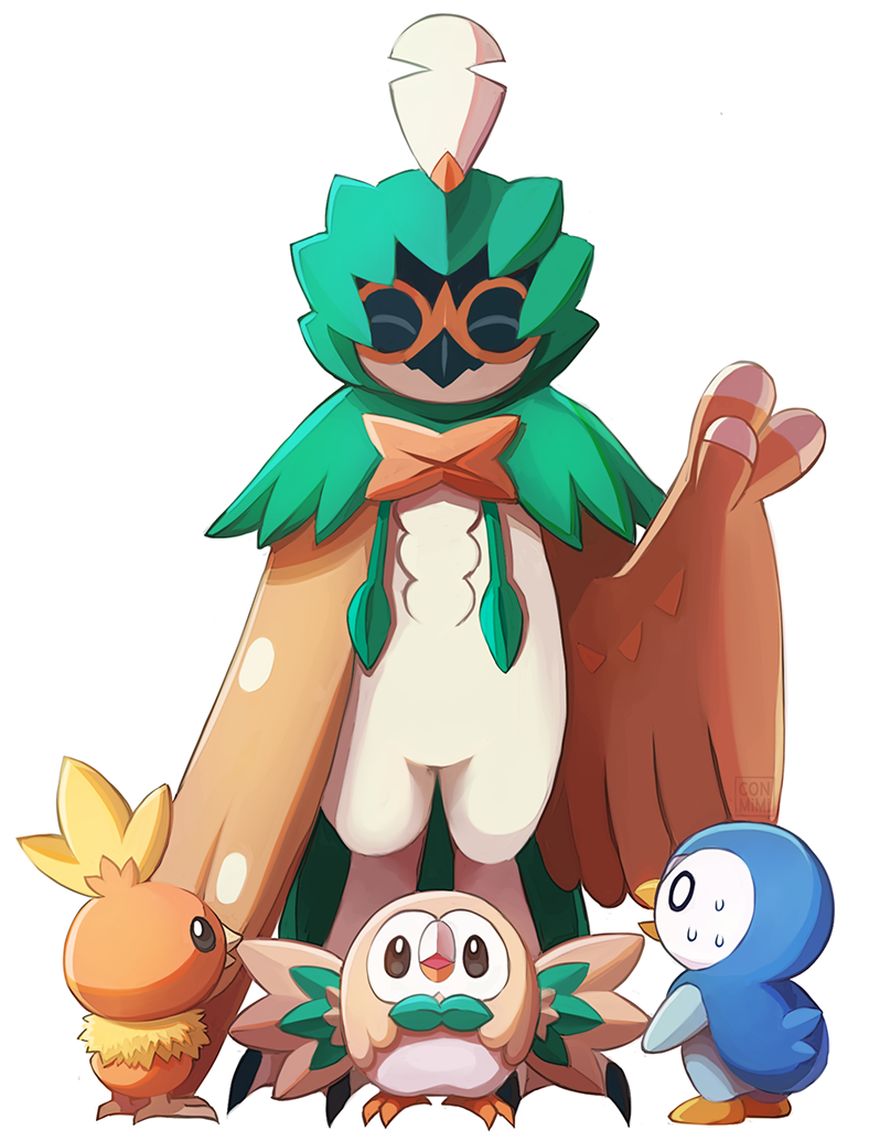 ^_^ bird bird_focus closed_eyes commentary conmimi creature decidueye english_commentary father_and_child full_body gen_3_pokemon gen_4_pokemon gen_7_pokemon looking_at_another no_humans piplup pokemon pokemon_(creature) rowlet simple_background size_difference standing sweat torchic waving white_background