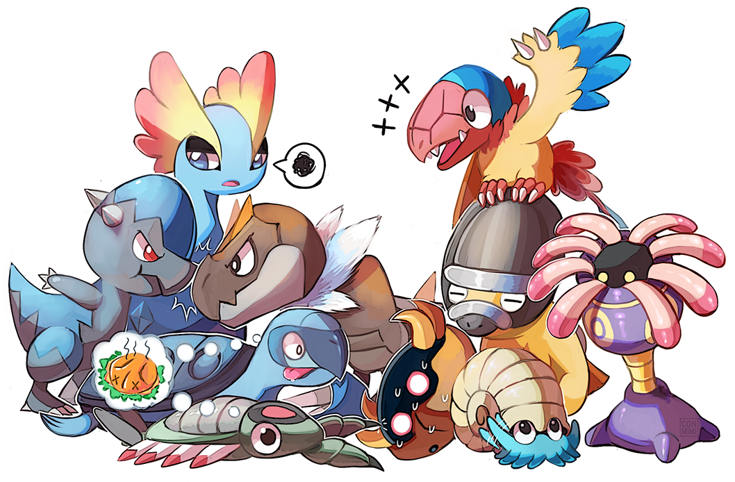 amaura anorith archen bird black_eyes claws commentary conmimi cranidos dinosaur english_commentary eye_contact gen_1_pokemon gen_3_pokemon gen_4_pokemon gen_5_pokemon gen_6_pokemon hungry kabuto_(pokemon) lileep looking_at_another looking_at_viewer no_humans omanyte on_head pokemon pokemon_(creature) pokemon_on_head red_eyes shell shieldon simple_background spoken_squiggle squiggle standing sweat tirtouga tongue tongue_out turtle tyrunt white_background