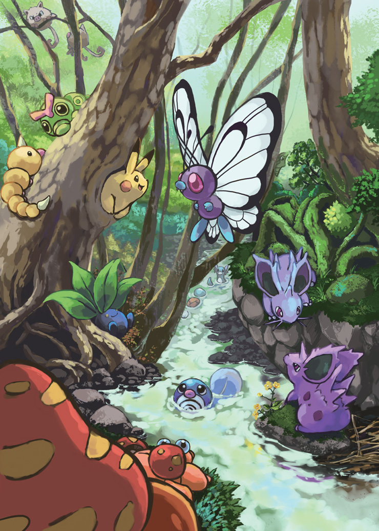 butterfree caterpie commentary_request creature dratini eye_contact fangs flying forest gen_1_pokemon grass looking_at_another looking_at_viewer looking_away mankey metapod nature nidoran nidoran_(female) nidoran_(male) no_humans oddish paras parasect pikachu pokemon pokemon_(creature) poliwag river rock squirtle toneko tree water weedle