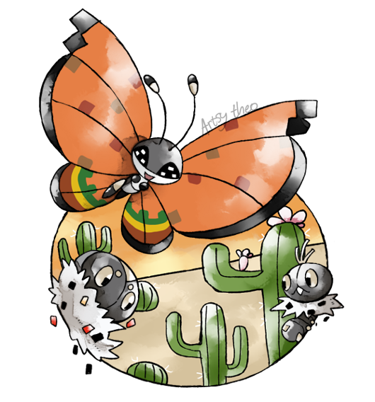 :d artsy-theo bug butterfly cactus creature desert flying gen_6_pokemon happy insect looking_at_viewer no_humans open_mouth outdoors pokemon pokemon_(creature) sand scatterbug signature smile spewpa vivillon vivillon_(high_plains)