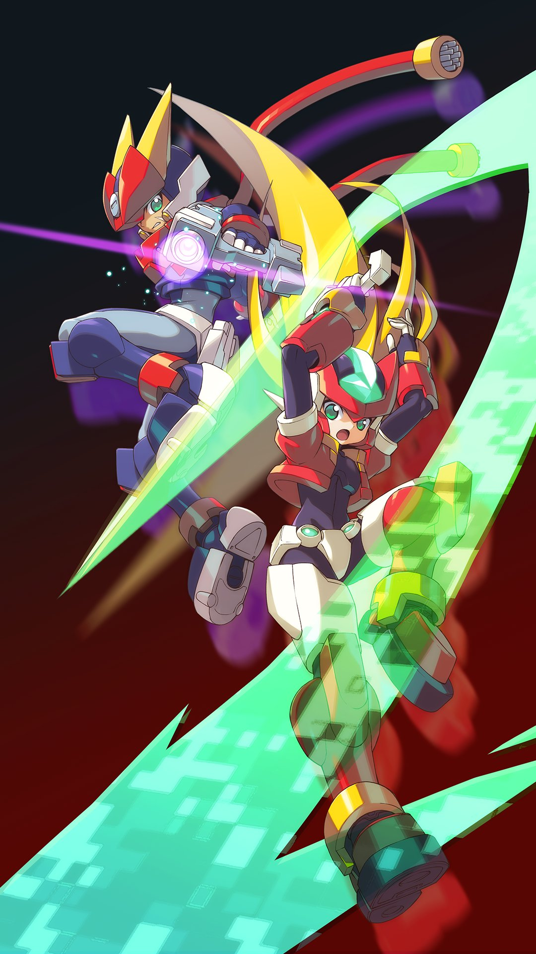 android blonde_hair degarashi_(ponkotsu) energy_sword full_body gradient gradient_background green_eyes grey_(rockman) helmet highres holding holding_weapon jumping long_hair model_zx open_mouth phone_wallpaper power_armor rockman rockman_zx simple_background sword weapon