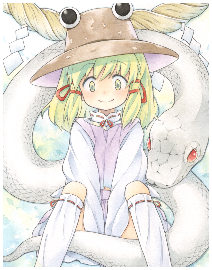 1girl animal bangs blonde_hair blush bow cowboy_shot eyebrows_visible_through_hair giant_snake hair_bow hair_ribbon hat long_sleeves looking_at_viewer medium_hair mishaguji moriya_suwako oversized_animal purple_skirt purple_vest red_bow red_eyes red_ribbon ribbon ribbon-trimmed_legwear ribbon_trim rope shimenawa shirt sitting skirt skirt_set snake solo thigh-highs touhou traditional_media vest watercolor_(medium) white_legwear white_shirt white_snake yellow_eyes zuushii_(zoosea)