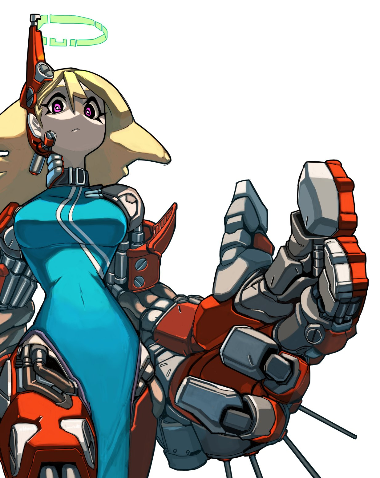 1girl blonde_hair breasts china_dress chinese_clothes cyborg dress hair_between_eyes halo highres koutetu_yarou large_breasts long_hair looking_at_viewer original oversized_forearms oversized_limbs robot_joints science_fiction solo violet_eyes white_background
