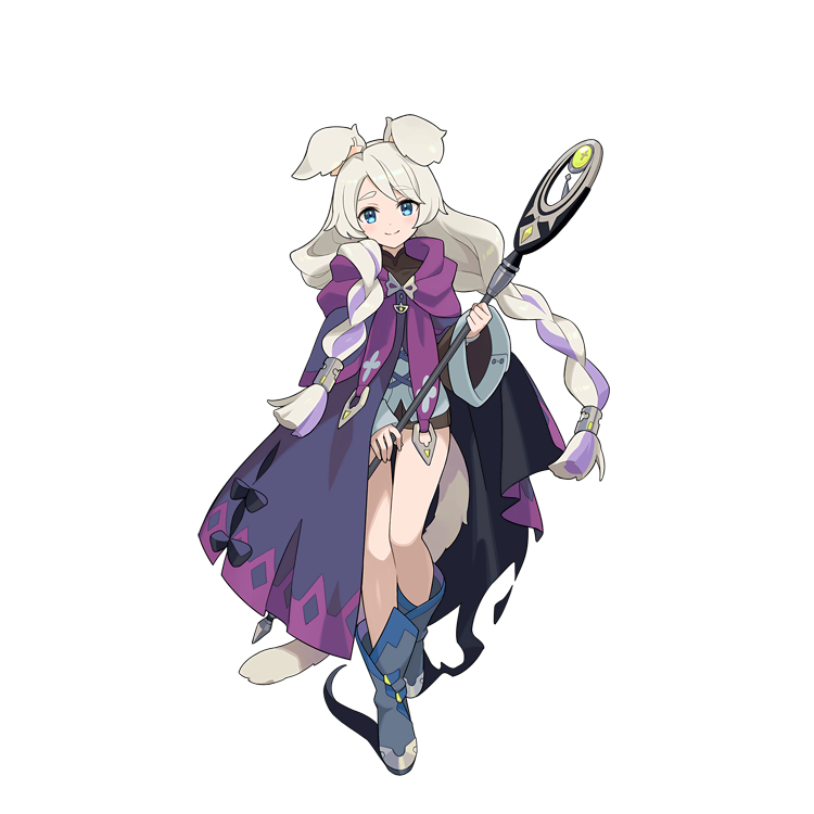 1girl animal_ear_fluff animal_ears blonde_hair blue_eyes boots braid cape full_body long_hair looking_at_viewer multicolored_hair official_art purple_hair rebecca_(world_flipper) smile solo staff streaked_hair tachi-e tail transparent_background twin_braids very_long_hair world_flipper