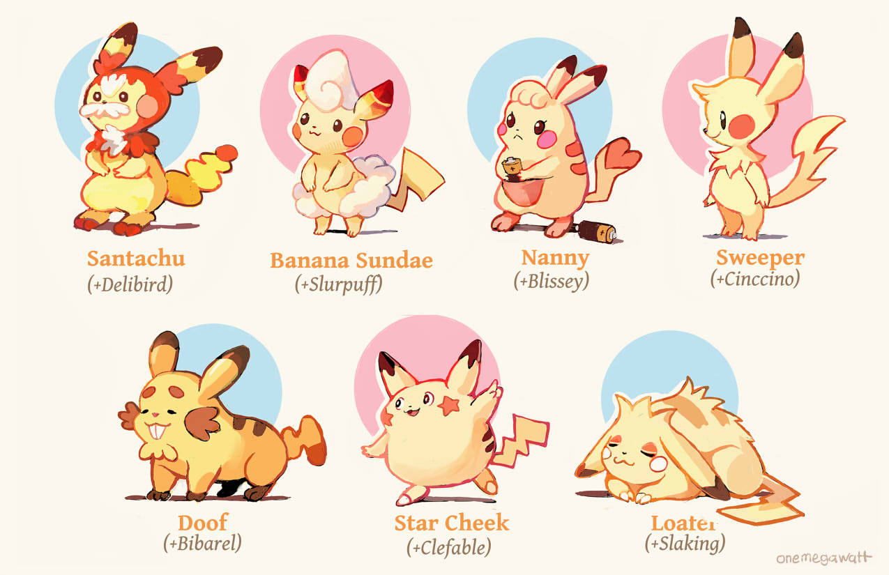 :3 battery bibarel black_eyes blissey character_name cinccino clefable closed_eyes closed_mouth commentary creature english_commentary english_text facial_hair frown full_body fusion gen_1_pokemon gen_2_pokemon gen_3_pokemon gen_4_pokemon gen_5_pokemon gen_6_pokemon holding lying multiple_fusions mustache no_humans on_stomach onemegawatt pikachu pokemon pokemon_(creature) shadow slaking slurpuff standing standing_on_one_leg star tumblr_username