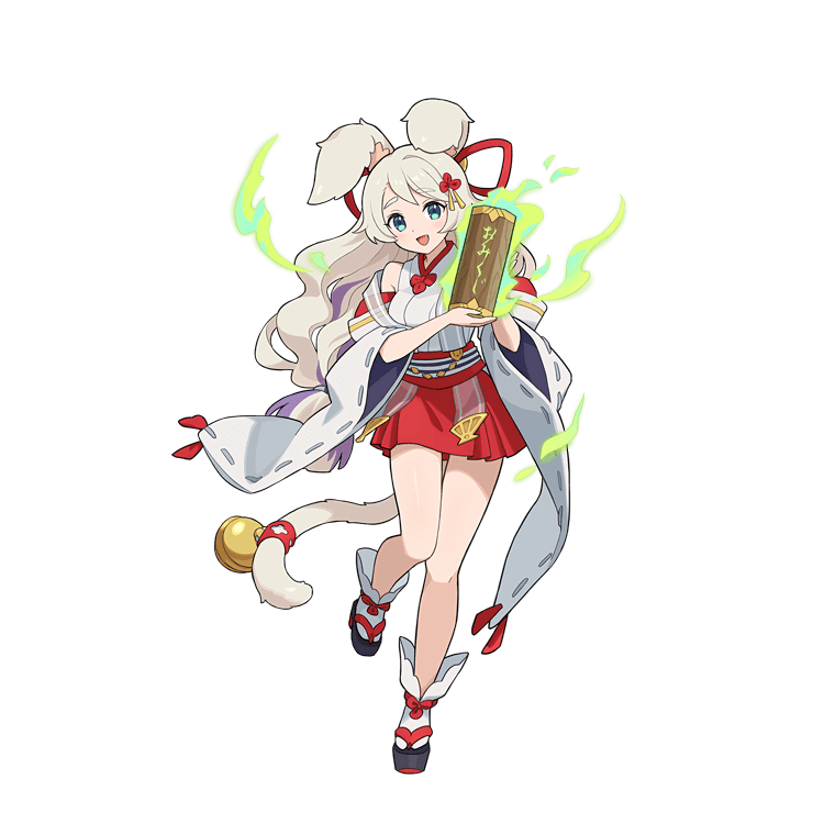 1girl animal_ear_fluff animal_ears bell blonde_hair blue_eyes boots braid detached_sleeves fang full_body hakama japanese_clothes jingle_bell long_hair looking_at_viewer miko multicolored_hair official_art open_mouth purple_hair rebecca_(world_flipper) red_hakama smile solo streaked_hair tabi tachi-e tail tail_bell transparent_background twin_braids very_long_hair wavy_hair world_flipper