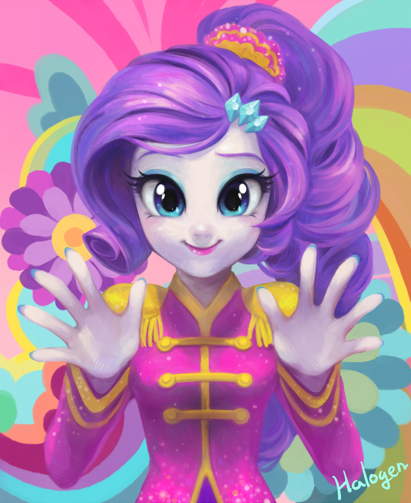 1girl asymmetrical_bangs bangs breasts commentary curly_hair english_commentary eyelashes eyeshadow hair_ornament halogenkn hands lipstick long_hair long_sleeves looking_at_viewer makeup multicolored multicolored_background my_little_pony my_little_pony_equestria_girls my_little_pony_friendship_is_magic ponytail purple_hair rarity signature small_breasts smile solo tied_hair upper_body white_skin