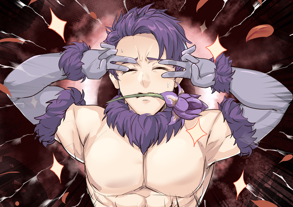 1boy bare_shoulders closed_eyes commentary_request cosplay dangerous_beast double_v elbow_gloves emotional_engine_-_full_drive fate/grand_order fate_(series) fergus_mac_roich_(fate/grand_order) flower fur_collar gloves in_mouth male_focus mash_kyrielight mash_kyrielight_(cosplay) purple_flower purple_gloves purple_hair shiseki_hirame solo v