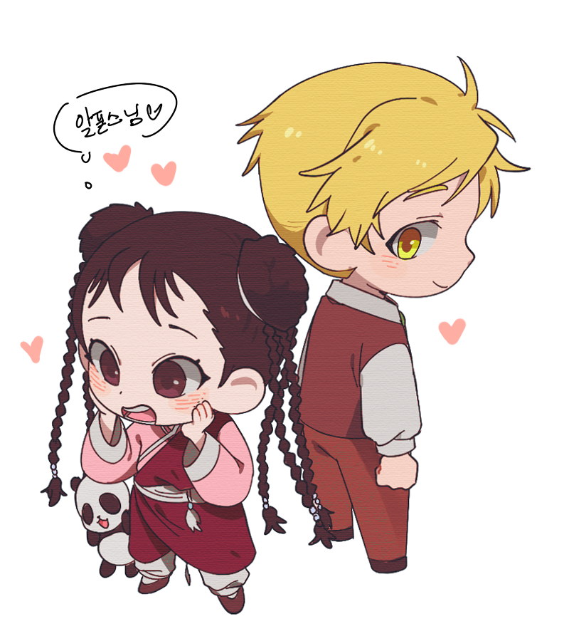 1boy 1d1ot 1girl :3 alphonse_elric animal arms_at_sides back-to-back black_eyes black_footwear blonde_hair blush braid brown_pants chibi chinese_clothes clenched_hands collared_shirt d: dot_nose double_bun eyelashes facing_away formal from_above full_body fullmetal_alchemist hands_on_own_cheeks hands_on_own_face happy heart height_difference korean_text legs_apart long_sleeves looking_at_another looking_away looking_back looking_down may_chang multiple_braids open_mouth panda pants profile shiny shiny_hair shirt smile standing teeth thought_bubble translation_request waistcoat white_shirt wide_sleeves xiao-mei yellow_eyes