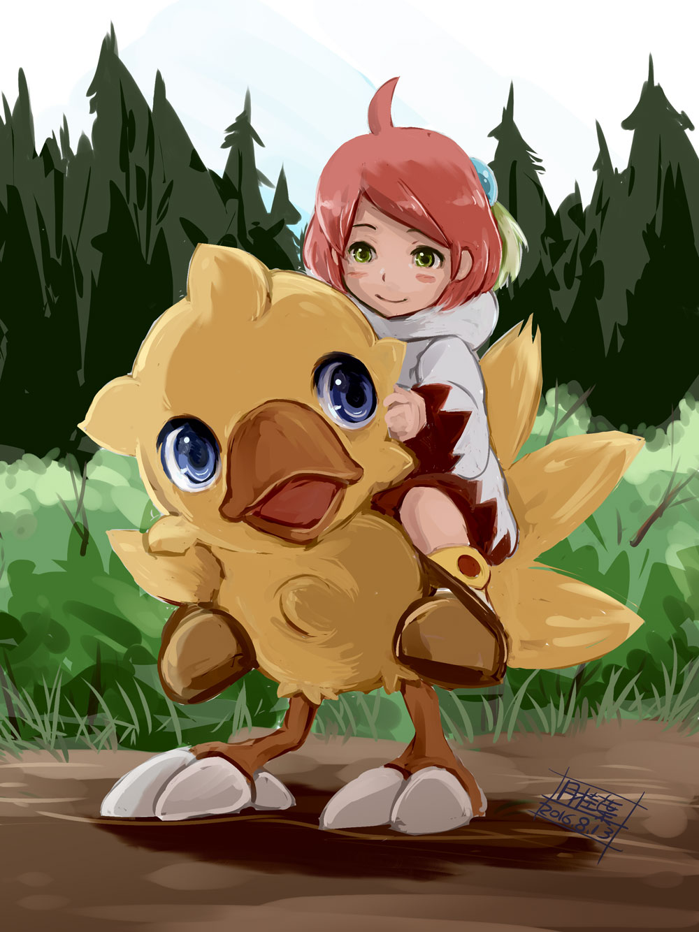 1girl boots chocobo closed_mouth commentary_request final_fantasy final_fantasy_fables gekkeiyou grass green_eyes highres open_mouth pink_hair robe shirma short_hair smile tree white_mage