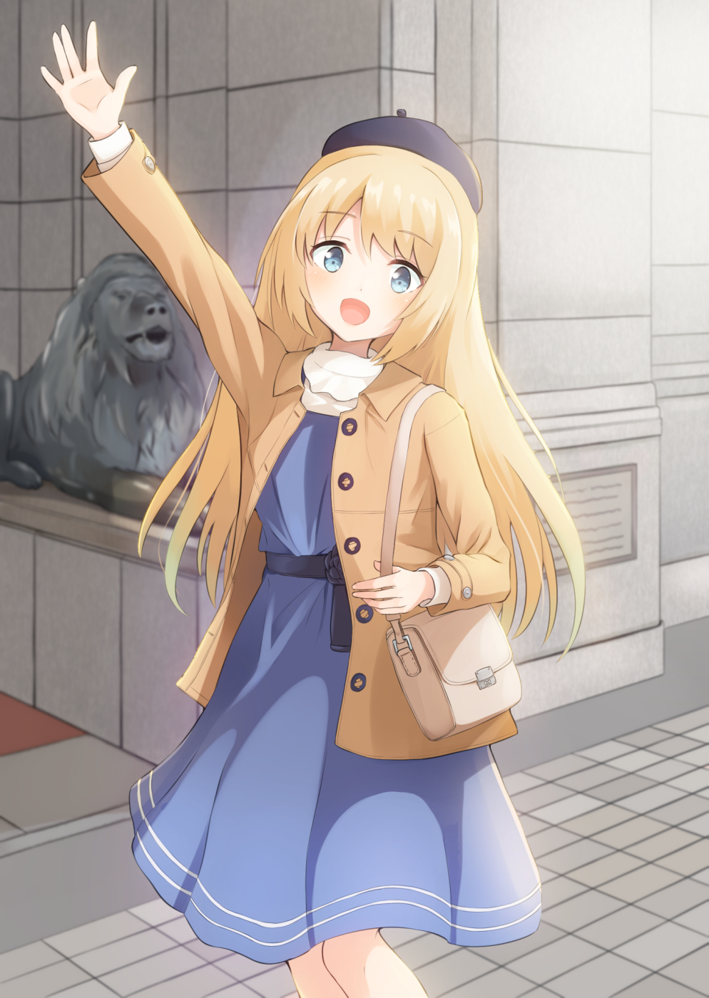 1girl alternate_costume bag beret blonde_hair blue_dress blue_eyes blue_headwear brown_jacket cowboy_shot dress hat highres jacket jervis_(kantai_collection) kantai_collection lion long_hair looking_at_viewer ochikata_kage smile solo standing statue waving