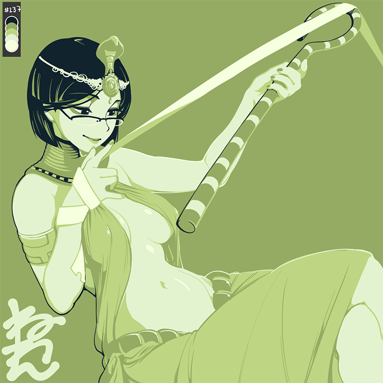 1girl armlet black_hair color_guide covered_nipples egyptian_clothes eyebrows_visible_through_hair feet_out_of_frame glasses green_background green_theme holding holding_staff limited_palette mikage_(neone) monochrome navel neone no_bra original short_hair simple_background solo staff