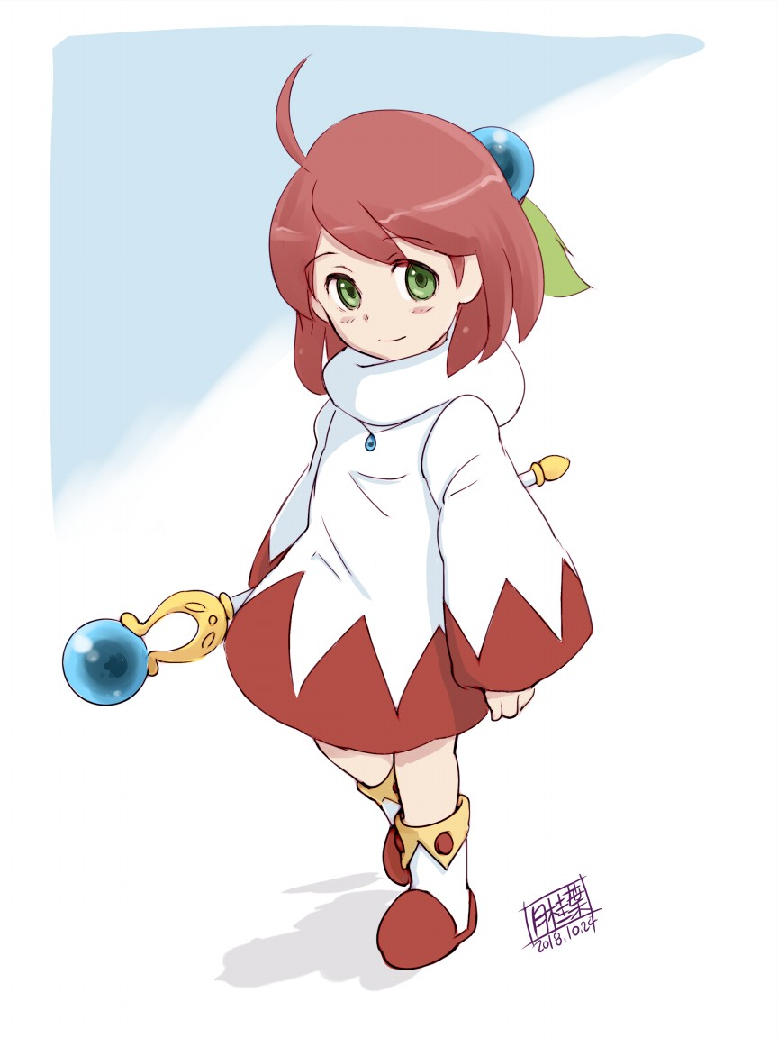 1girl ahoge closed_mouth final_fantasy final_fantasy_fables gekkeiyou green_eyes looking_at_viewer pink_hair robe shirma short_hair simple_background smile solo staff white_mage