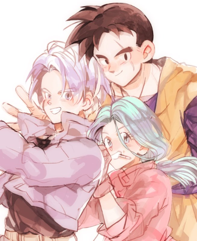 1girl 2boys belt black_eyes black_hair black_shirt blue_eyes blue_hair brown_gloves bulma_(future) cigarette clenched_teeth commentary_request d89im denim denim_jacket dougi dragon_ball dragon_ball_z eyelashes gloves grey_eyes grin hands_on_another's_back happy height_difference high_collar jacket long_hair looking_at_viewer low_ponytail mother_and_son multiple_boys pink_jacket ponytail purple_hair purple_jacket scar scar_across_eye shirt simple_background smile son_gohan_(future) teeth time_paradox trunks_(future)_(dragon_ball) upper_body white_background