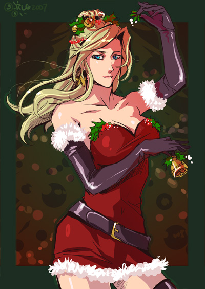 bell belt black_legwear blonde_hair blue_eyes breast_hold breasts christmas cleavage dress earrings elbow_gloves final_fantasy final_fantasy_iv gloves hair_ornament holly jewelry large_breasts latex latex_gloves long_hair mistletoe rebecca_gunter rosa_farrell solo thighhighs thighs zettai_ryouiki