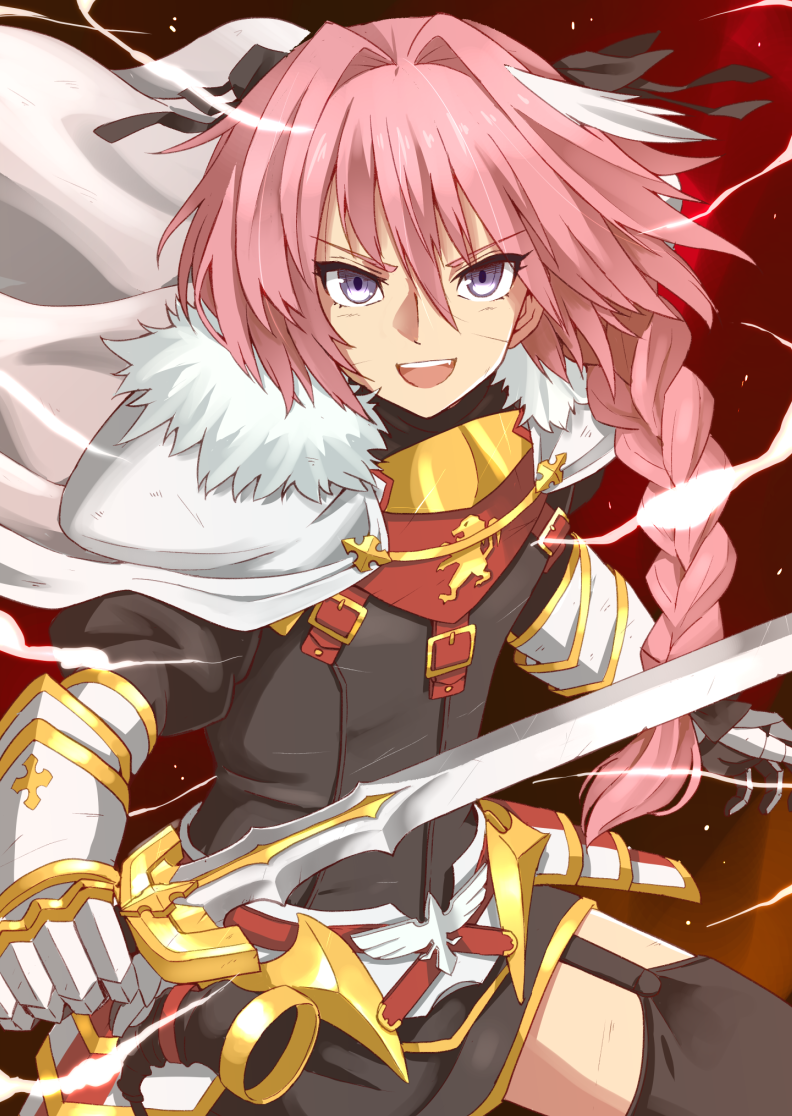 1boy astolfo_(fate) bangs belt black_bow black_dress black_legwear bow braid cloak dress emblem fang fate/apocrypha fate_(series) faulds fur-trimmed_cloak fur_trim garter_straps gauntlets hair_between_eyes hair_bow hair_intakes long_braid long_hair looking_at_viewer multicolored_hair open_mouth otoko_no_ko pink_hair short_dress single_braid smile solo streaked_hair sword violet_eyes weapon white_cloak white_hair xiafuizui