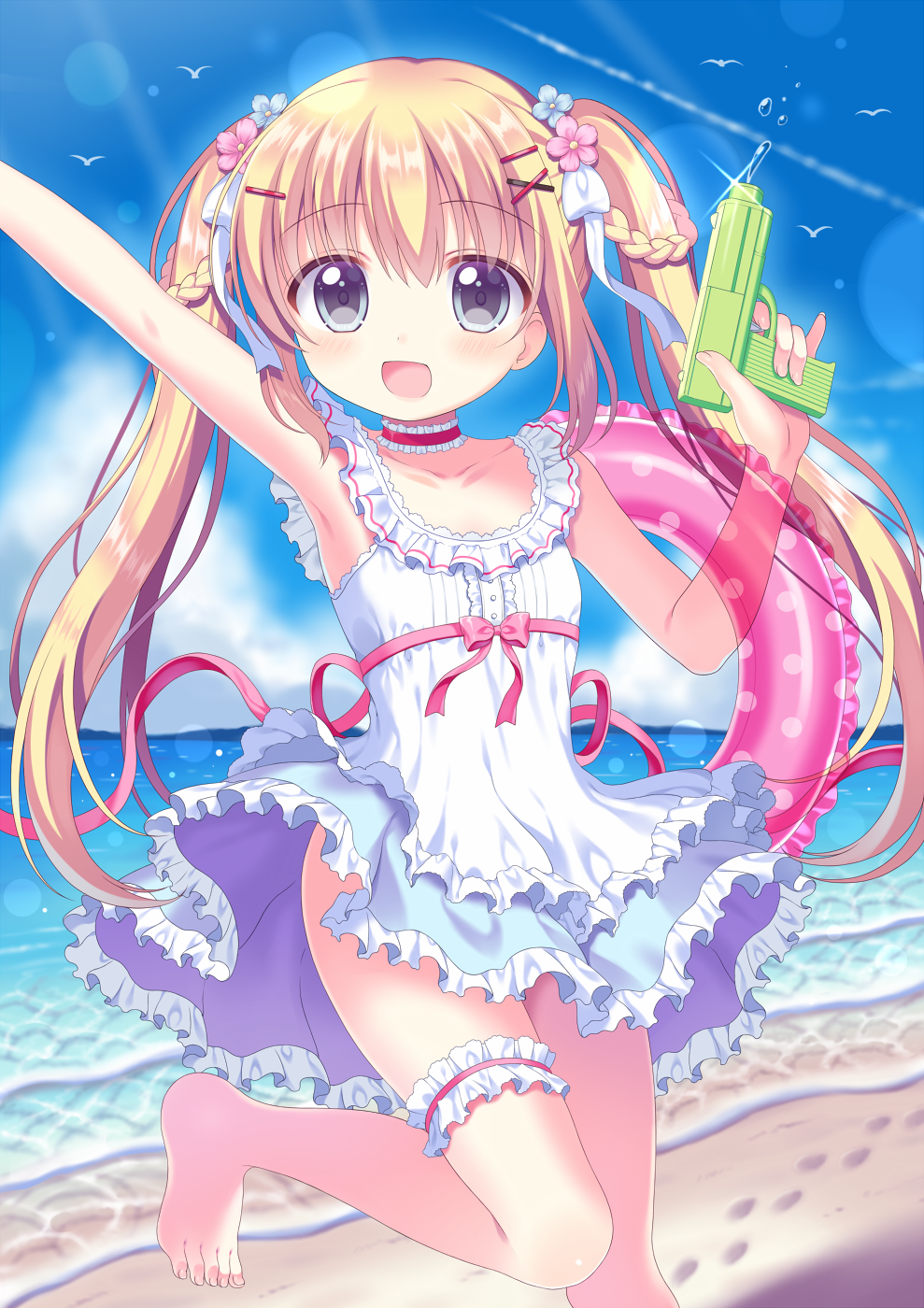 1girl :d arm_up bangs bare_arms bare_shoulders barefoot beach blonde_hair blue_eyes blue_flower blush bow braid collarbone commentary_request dress eyebrows_visible_through_hair flower frilled_dress frills hair_between_eyes hair_bow hair_flower hair_ornament highres horizon innertube long_hair moe2020 ocean open_mouth original outstretched_arm pink_flower polka_dot red_bow red_ribbon ribbon riria_(happy_strawberry) sand sleeveless sleeveless_dress smile solo standing standing_on_one_leg transparent twintails very_long_hair water water_gun white_bow white_dress