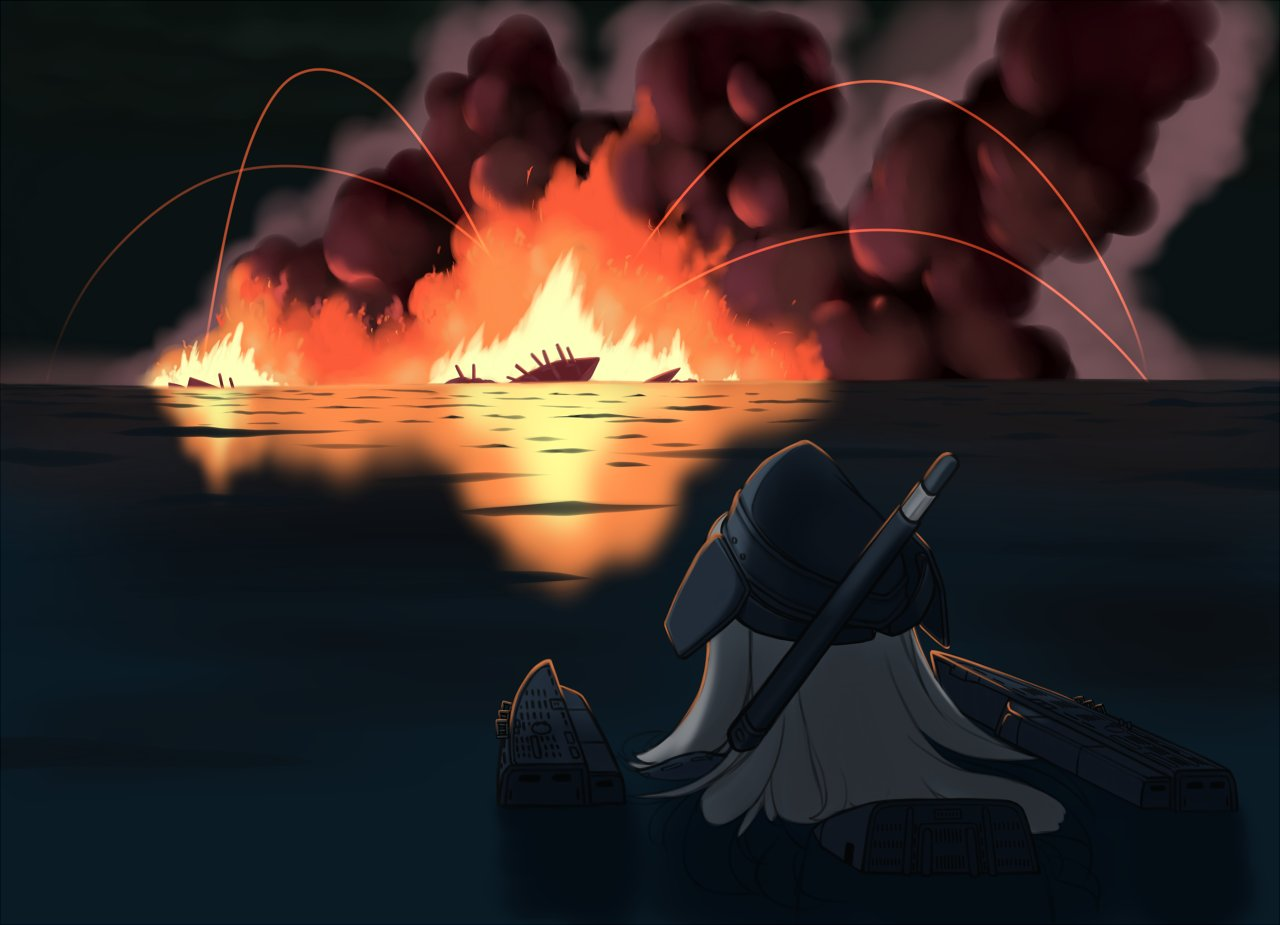 blonde_hair explosion fire garrison_cap hat kantai_collection long_hair looking_away ocean partially_submerged porusasu rigging sinking smoke u-511_(kantai_collection) water