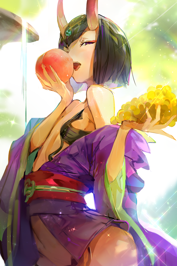 1girl armpits bob_cut breasts fate/grand_order fate_(series) food fruit headpiece horns japanese_clothes kimono nekobell oni oni_horns open_clothes open_kimono purple_hair purple_kimono revealing_clothes short_eyebrows short_hair shuten_douji_(fate/grand_order) skin-covered_horns thighs violet_eyes yon_(yonana)