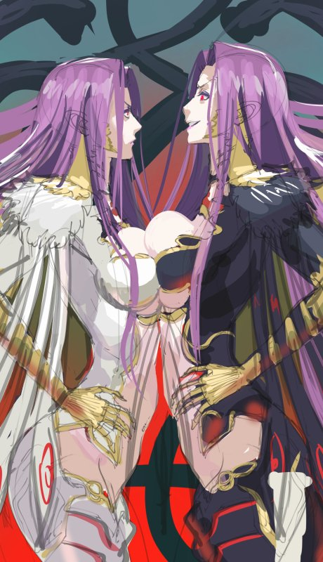 2girls breast_contest breast_press breasts dual_persona fate/grand_order fate_(series) gorgon_(fate) hands_on_hips large_breasts long_hair moruga multiple_girls profile purple_hair symmetrical_docking