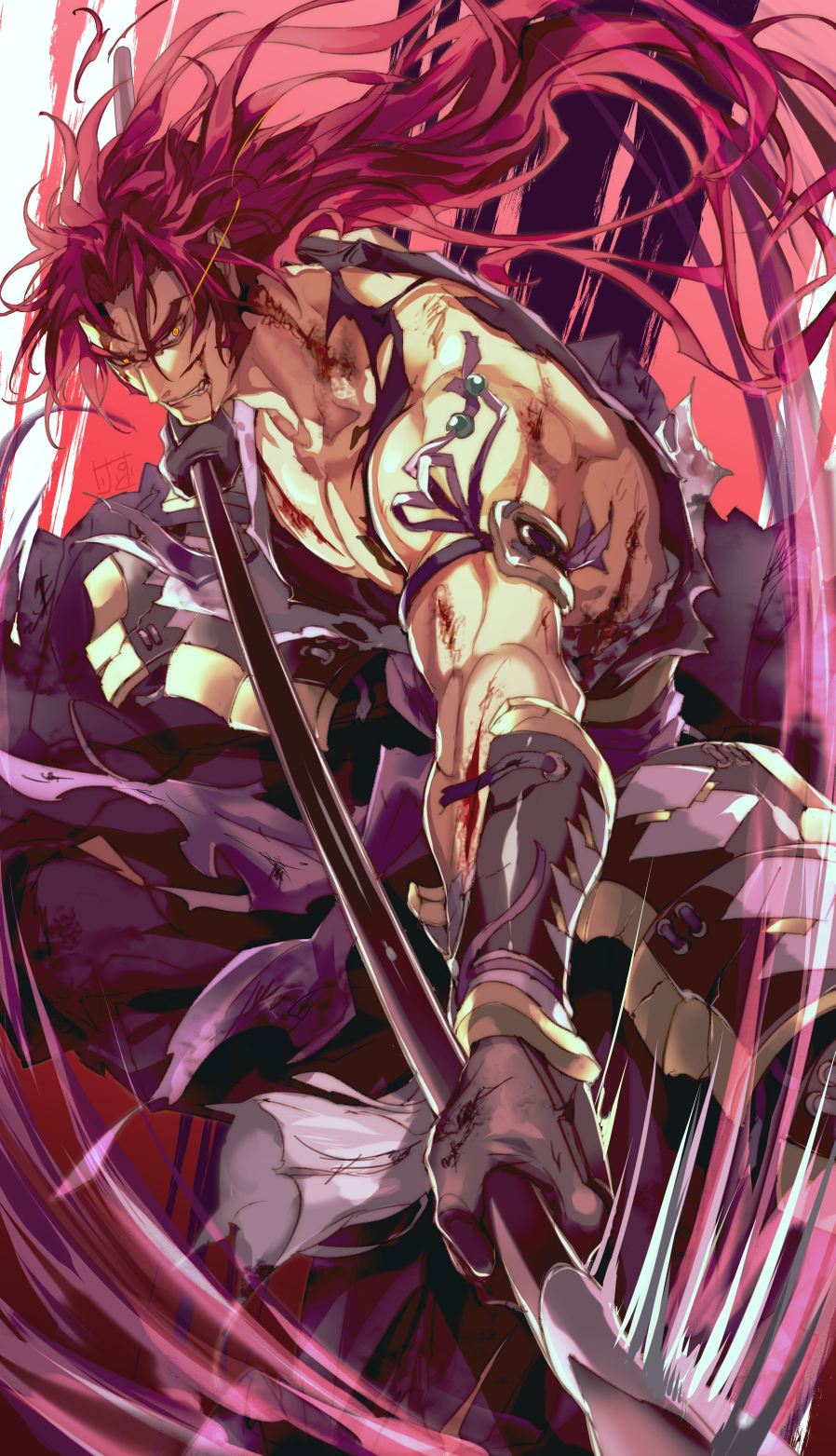 1boy blood clenched_teeth glowing glowing_eye highres japanese_clothes kesurido long_hair looking_at_viewer male_focus muscle polearm ponytail purple_hair sideburns sleeveless solo spear tattoo teeth tonbokiri_(touken_ranbu) touken_ranbu weapon yari yellow_eyes