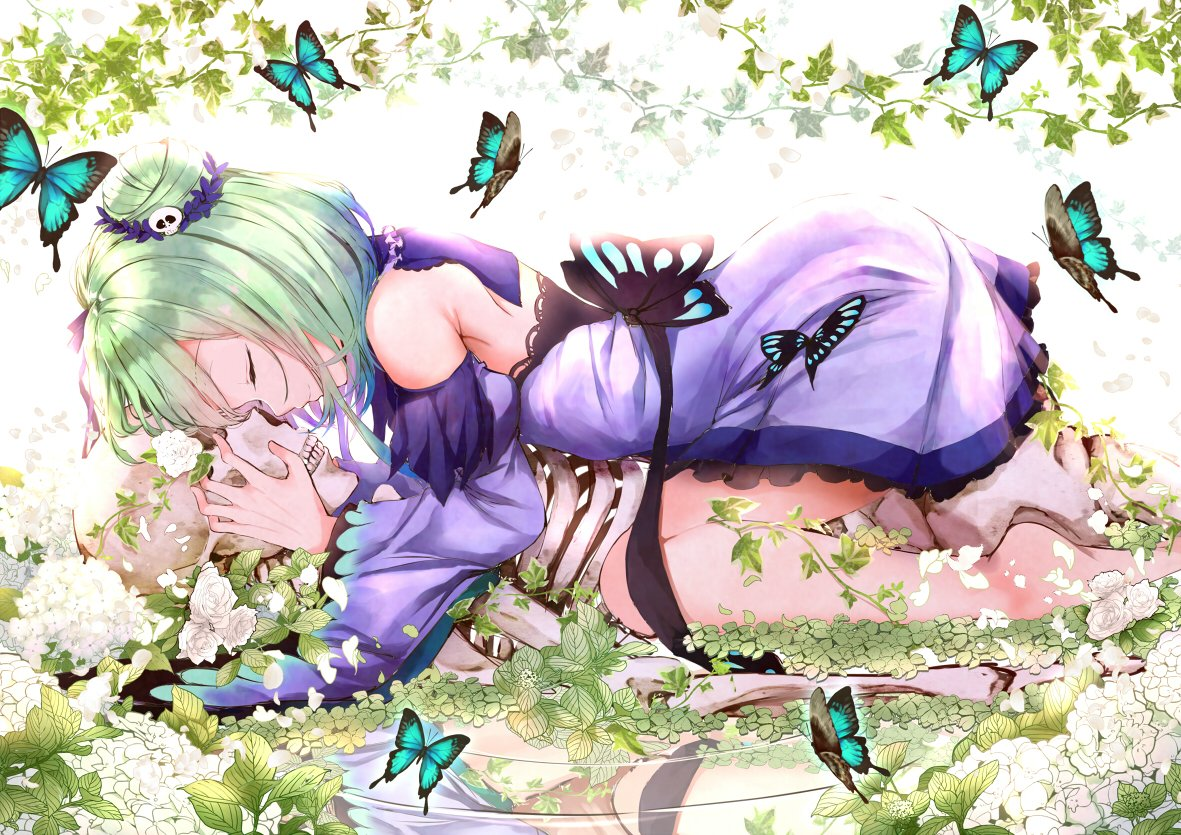 1girl barefoot bug butterfly closed_eyes detached_sleeves double_bun dress flower frilled_dress frills gradient_hair green_hair hair_ornament hololive insect multicolored_hair plant reflection ribbon ripples skeleton skull_hair_ornament smile solo uruha_rushia virtual_youtuber yukishiro_arute