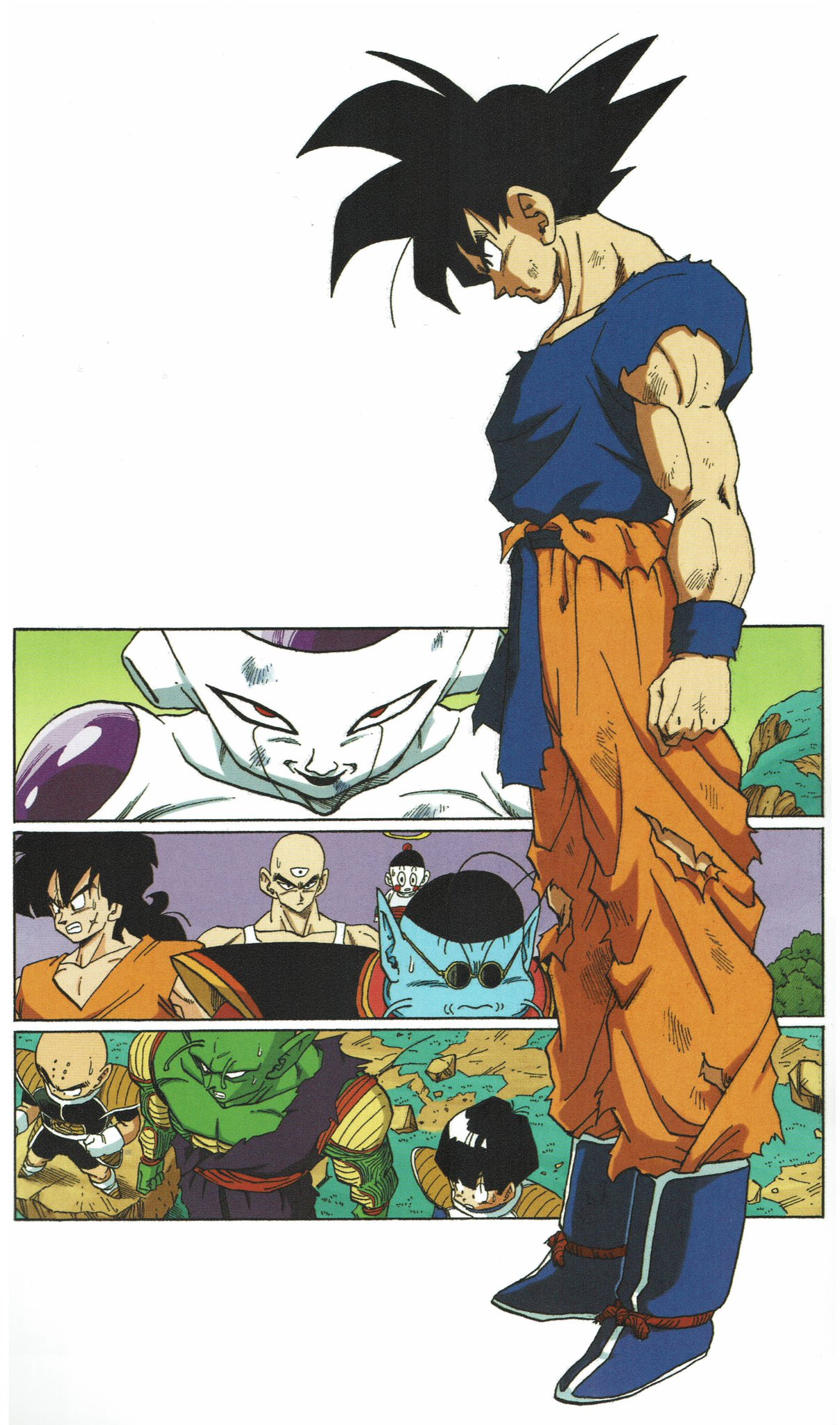6+boys :o antennae armor arms_at_sides bald black_eyes black_hair blue_footwear blue_shirt boots bowl_cut chaozu clenched_teeth collarbone dirty dirty_clothes dirty_face dragon_ball dragon_ball_z evil_smile facial_scar frieza from_above from_side frown full_body grass halo head_down highres kuririn looking_at_viewer male_focus mountain multiple_boys muscle nervous north_kaiou official_art orange_pants outdoors panels pants piccolo pointy_ears red_eyes scar scar_on_cheek serious shaded_face shirt simple_background smile son_gohan son_gokuu spiky_hair standing sunglasses sweatdrop teeth tenshinhan third_eye toriyama_akira torn_clothes torn_legwear torn_shirt white_background wristband yamcha