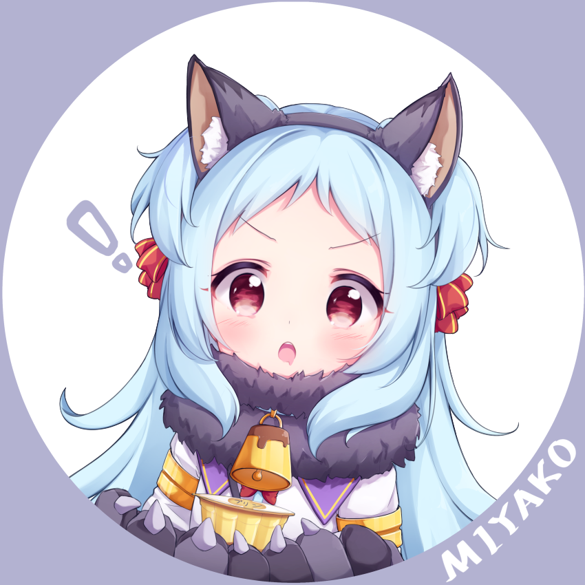 ! 1girl animal_ear_fluff animal_ears bangs bell black_hairband blue_hair blush bow character_name dress drooling eyebrows_visible_through_hair fake_animal_ears food fur_collar gloves grey_background grey_gloves hair_bow hairband holding holding_food izumo_miyako long_hair looking_at_viewer open_mouth parted_bangs paw_gloves paws princess_connect! princess_connect!_re:dive pudding red_bow red_eyes saliva solo tokenbox two-tone_background two_side_up upper_teeth v-shaped_eyebrows white_background white_dress