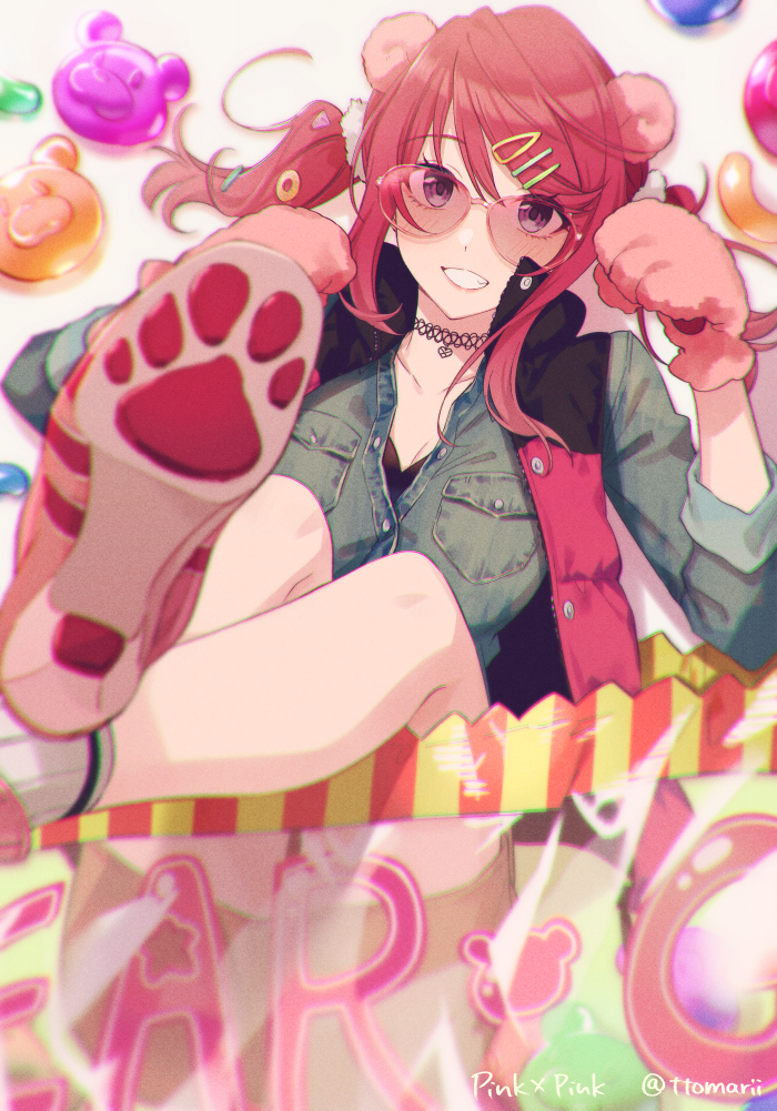 1girl :d animal_ears ankle_socks bag bangs bear_ears bear_paws breasts buttons candy choker collarbone commentary denim denim_jacket eyebrows_visible_through_hair feet_out_of_frame food from_above gloves grin gummy_bear hair_ornament hairclip high_heels large_breasts legs_up light_blush long_hair looking_at_viewer lying miniskirt on_back open_mouth original paw_gloves paw_pose paw_print paws pink-framed_eyewear pink-tinted_eyewear pink_hair pocket scrunchie sidelocks simple_background skirt sleeves_rolled_up smile solo sunglasses swept_bangs tomari_(veryberry00) twitter_username two_side_up unbuttoned vest violet_eyes white_background