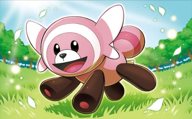 :d bear blue_sky commentary creature day english_commentary full_body gen_7_pokemon grass happy multiple_sources no_humans open_mouth outdoors petals pokemon pokemon_(creature) pokemon_trading_card_game running sakuma_sanosuke sky smile solo stufful sun sunlight third-party_source tree