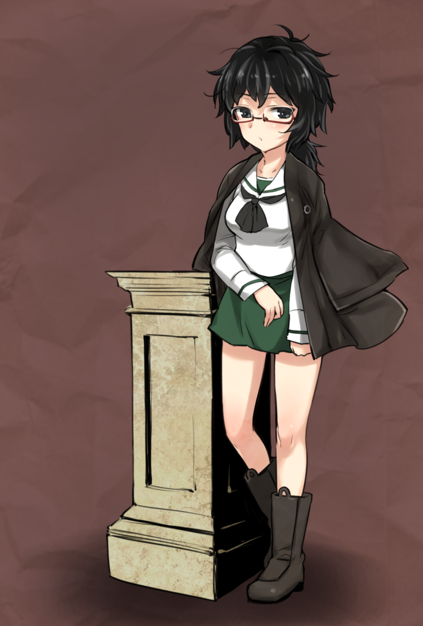 1girl aohashi_ame bangs black_eyes black_footwear black_hair black_jacket black_neckwear blouse boots brown_background closed_mouth commentary_request girls_und_panzer glasses green_skirt haori highres jacket jacket_on_shoulders japanese_clothes light_frown long_sleeves looking_at_viewer medium_hair messy_hair miniskirt neckerchief ooarai_school_uniform oryou_(girls_und_panzer) partial_commentary pedestal pleated_skirt red-framed_eyewear school_uniform semi-rimless_eyewear serafuku short_ponytail skirt solo standing under-rim_eyewear white_blouse