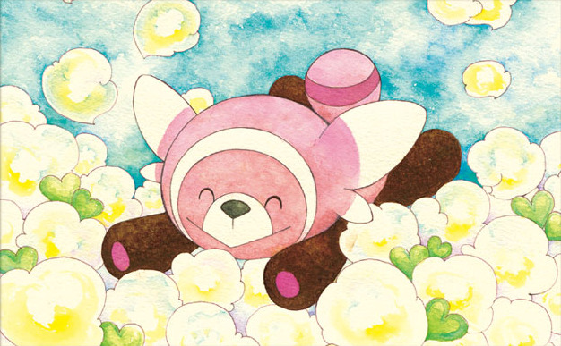 ^_^ bear closed_eyes closed_mouth commentary creature english_commentary flower full_body gen_7_pokemon multiple_sources no_humans official_art pokemon pokemon_(creature) pokemon_trading_card_game sekio smile solo stufful third-party_source