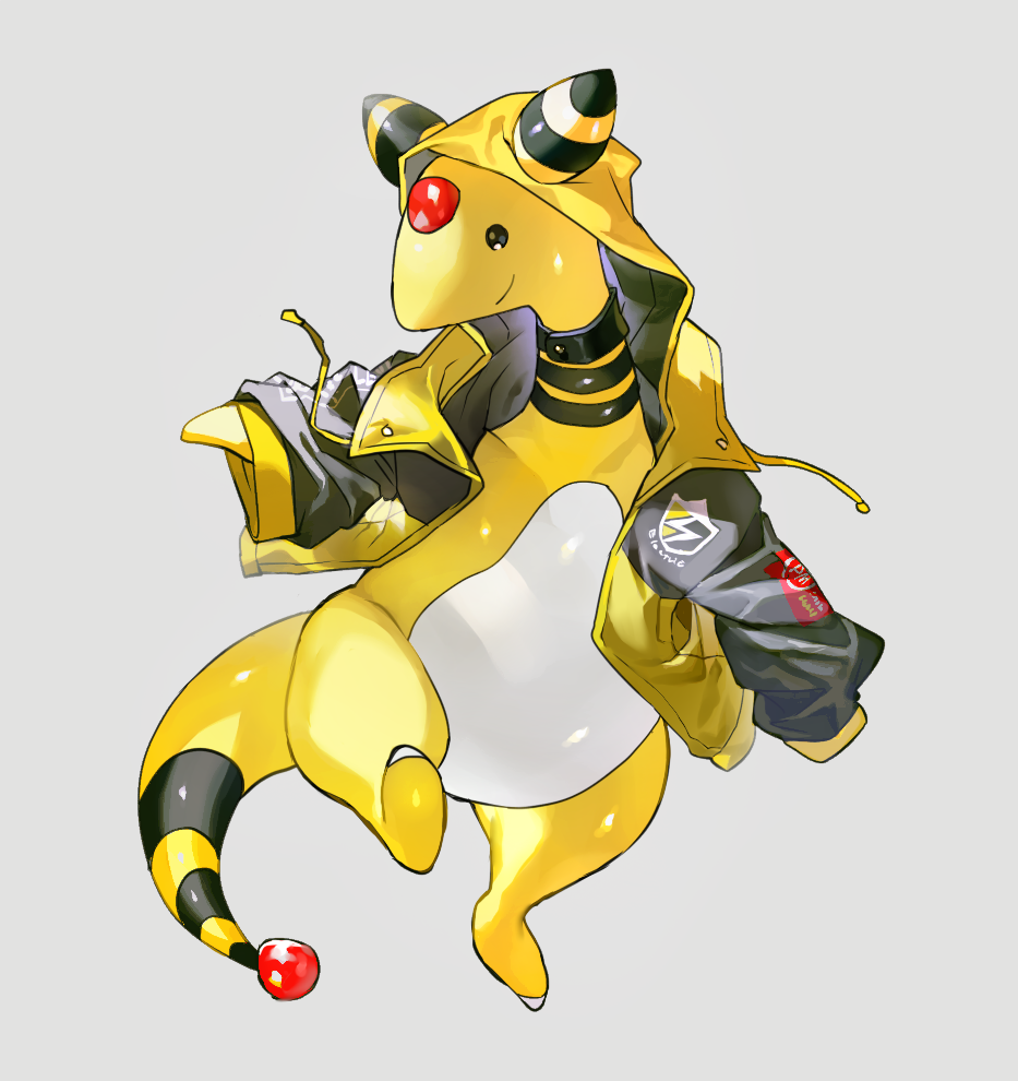 ampharos closed_mouth clothed_pokemon drawstring forehead_jewel full_body gen_2_pokemon grey_background happy hood hoodie jacket leg_up lightning_bolt long_sleeves newo_(shinra-p) no_humans open_clothes open_jacket pokemon pokemon_(creature) shiny shiny_skin simple_background sleeves_past_wrists smile solo standing standing_on_one_leg yellow_jacket