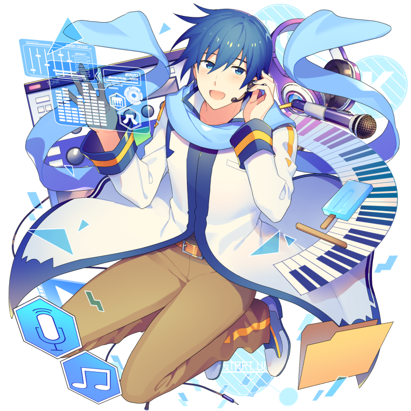 1boy beamed_eighth_notes blue_eyes blue_hair blue_nails blue_scarf brown_pants coat folder hand_on_ear hands_up headphones headset holographic_interface ice_cream_bar instrument kaito keyboard_(instrument) light_blush looking_at_viewer male_focus microphone microphone_symbol musical_note open_mouth pants popsicle_stick scarf sinaooo smile solo vocaloid white_coat window_(computing)