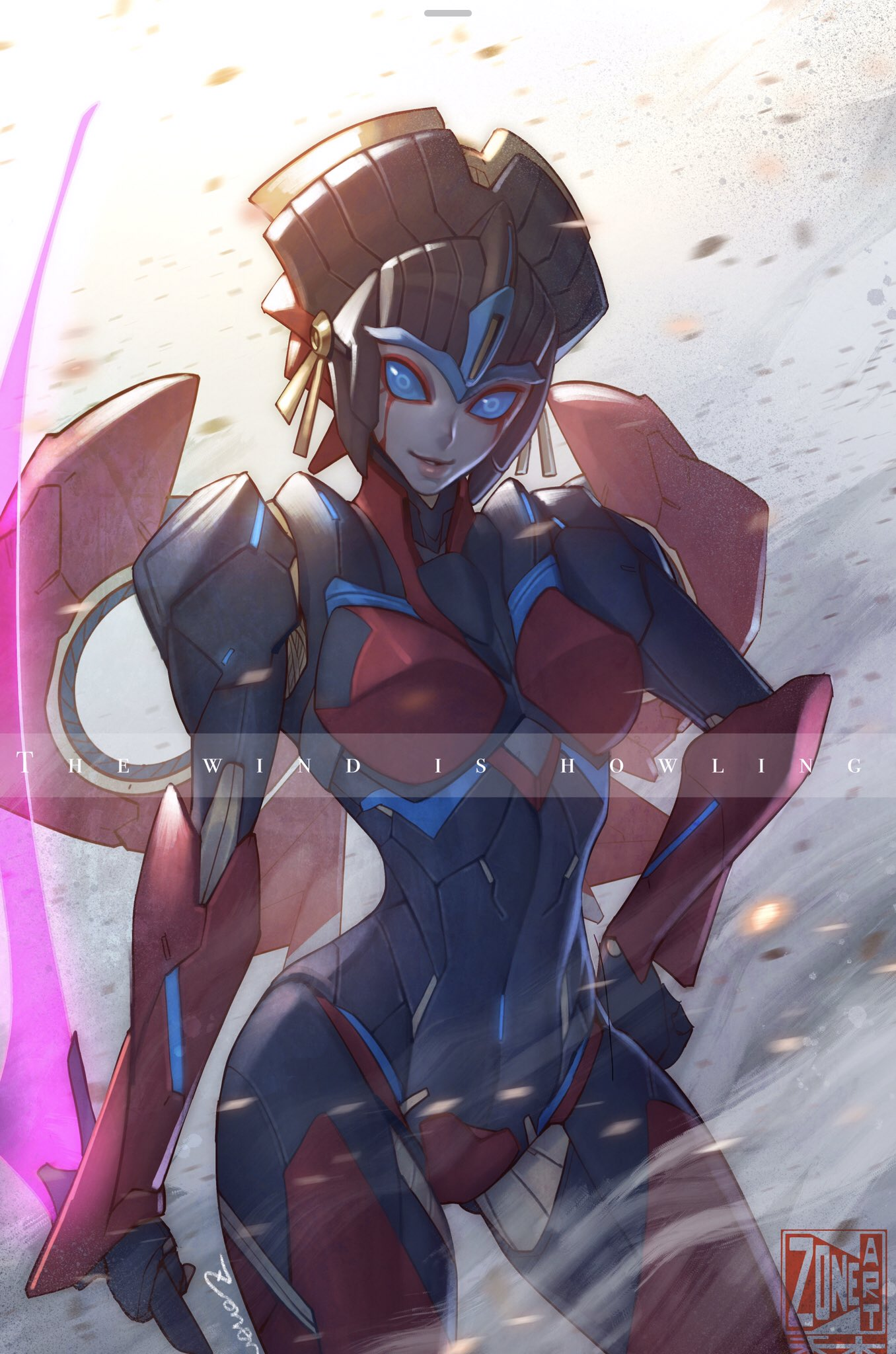 alien breasts energy_sword facial_mark geisha glowing glowing_eyes glowing_sword glowing_weapon highres lips no_humans robot science_fiction sword transformers weapon windblade zoner