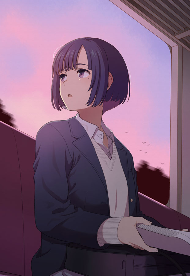 1girl bag black_hair black_jacket blazer blush book collared_shirt dress_shirt holding holding_book jacket long_sleeves looking_away looking_to_the_side mattaku_mousuke mole mole_under_eye multicolored_hair open_blazer open_book open_clothes open_jacket original parted_lips purple_hair school_bag school_uniform shirt short_hair sitting sleeves_past_wrists solo sunset sweater train_interior two-tone_hair violet_eyes white_shirt white_sweater window