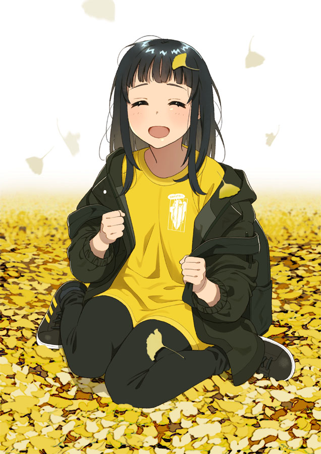1girl :d ^_^ backpack bag bangs black_footwear black_hair black_jacket black_pants blush closed_eyes facing_viewer ginkgo_leaf jacket leaf leaf_on_head long_hair long_sleeves mattaku_mousuke on_ground open_clothes open_jacket open_mouth original pants shirt shoes smile solo white_background yellow_shirt